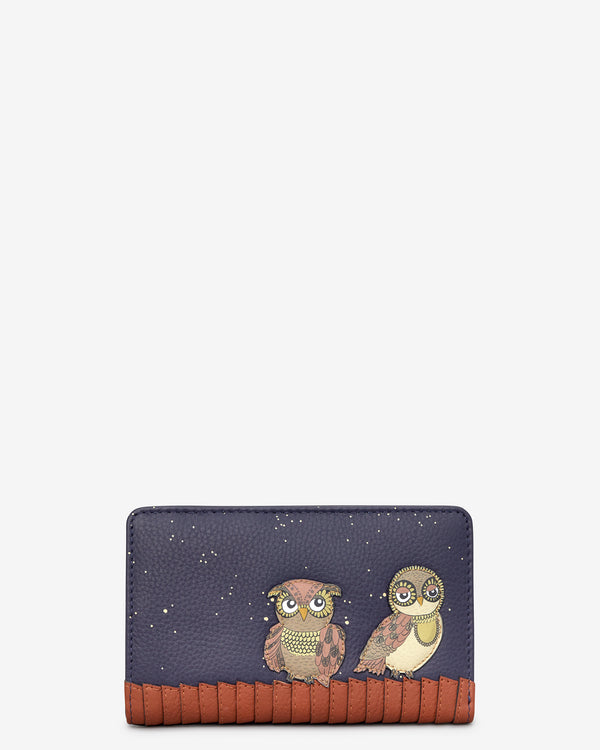 Owl You Need Flap Over Zip Around Leather Purse