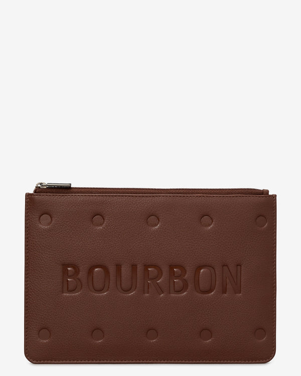 Bourbon Biscuit Zip Top Leather Pouch