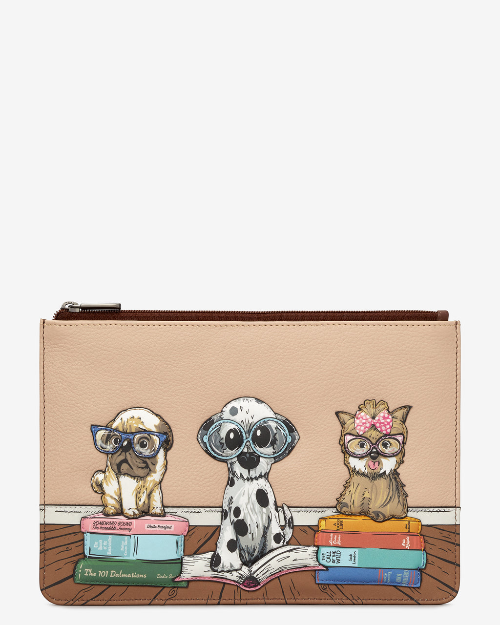 Bookhound Gang Zip Top Leather Pouch