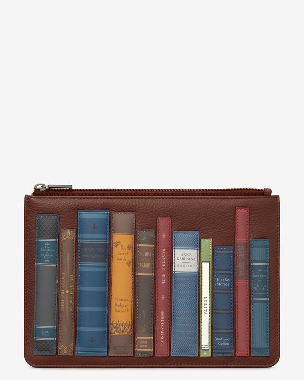 Bookworm Library Zip Top Leather Pouch