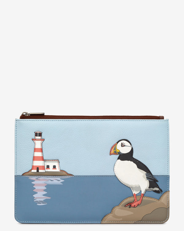 Puffin Island Zip Top Leather Pouch