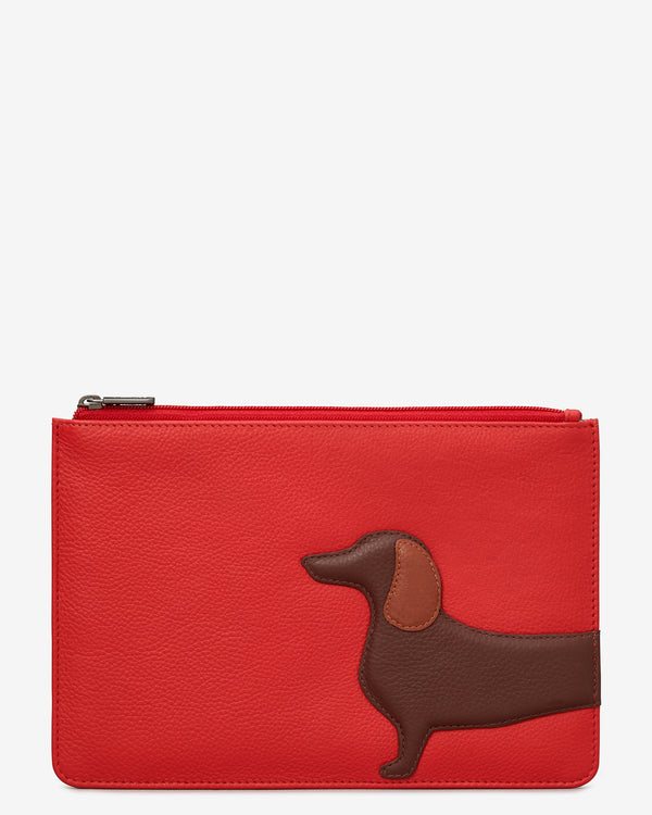 Dottie the Dachshund Zip Top Leather Pouch