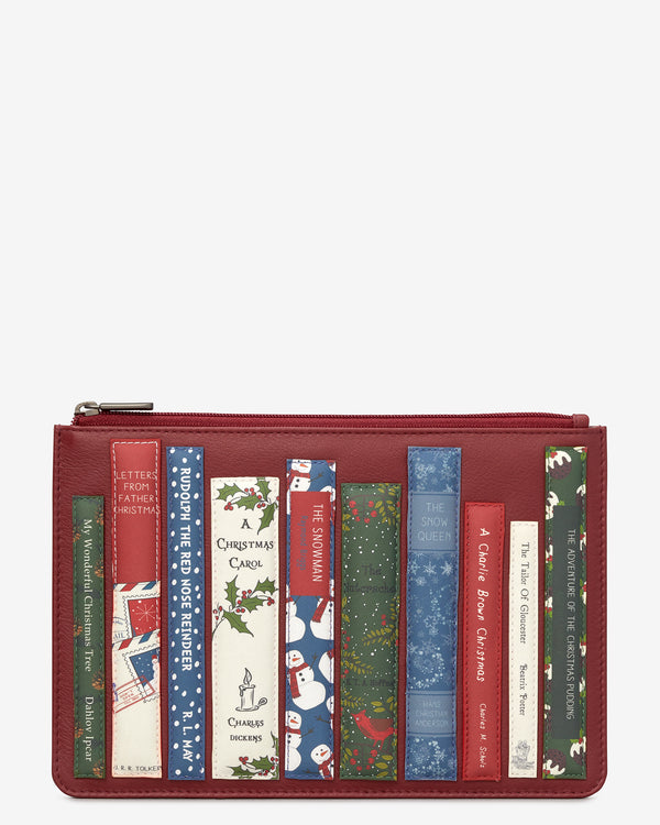 Christmas Bookworm Library Zip Top Leather Pouch