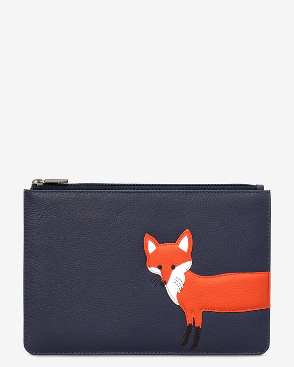 Fergus the Fox Zip Top Leather Pouch