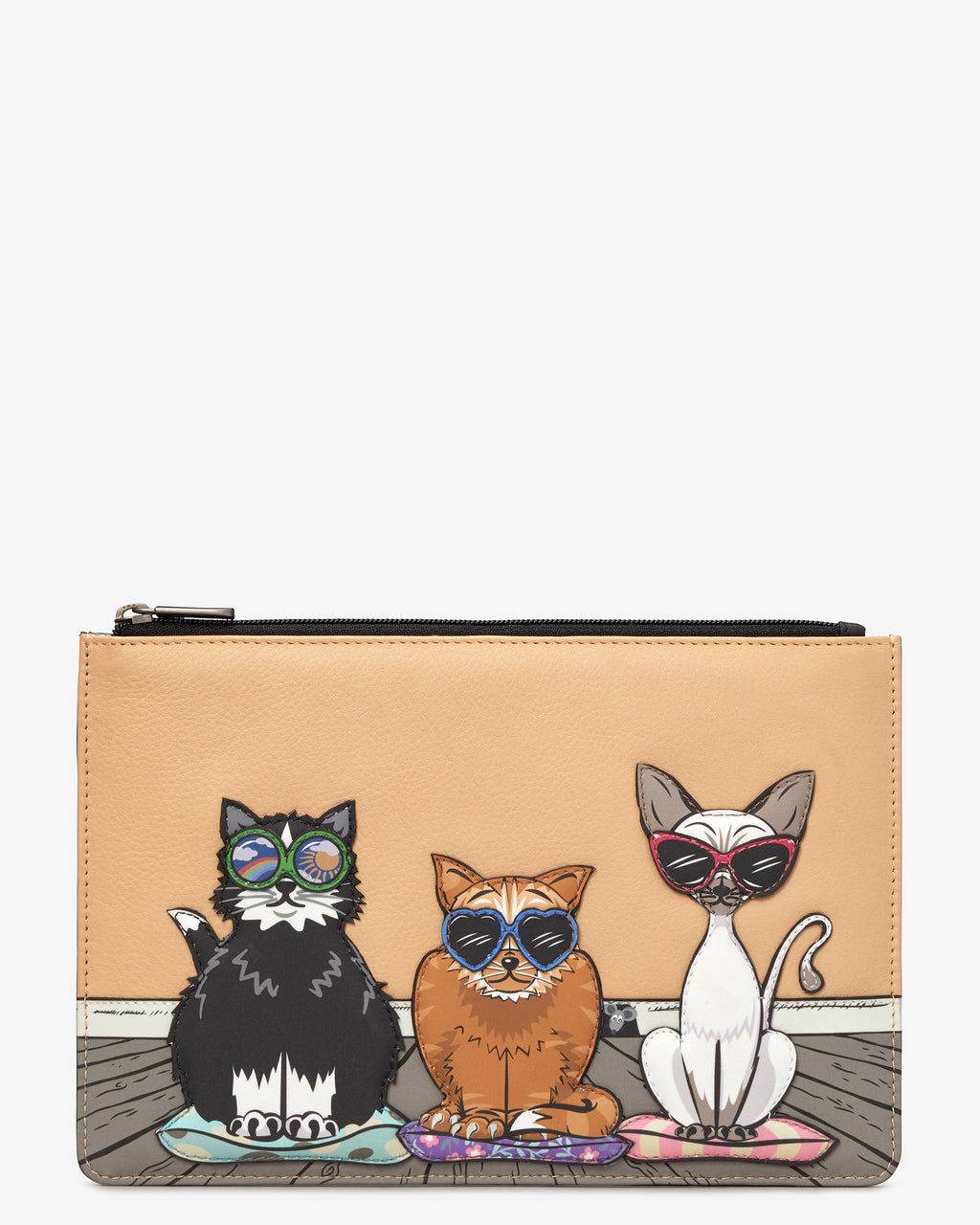 Cool for Cats Zip Top Leather Pouch