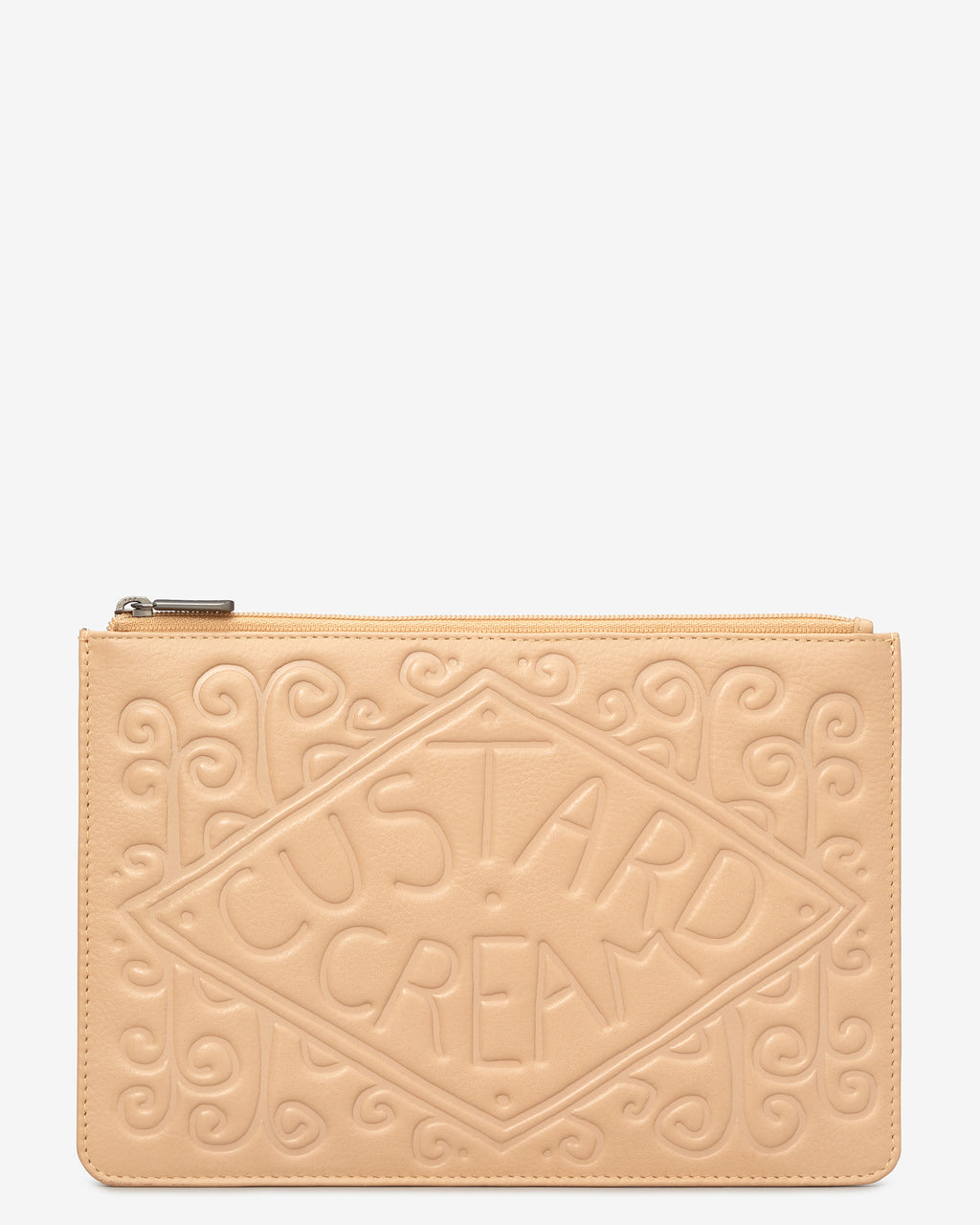 Custard Cream Zip Top Leather Pouch