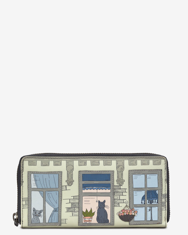 Purrfect Neighbours Leather Zip Around Purse