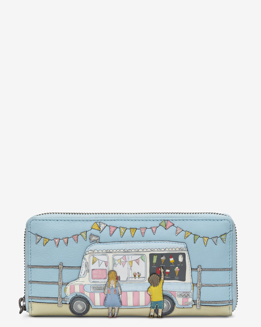 Summer Memories Zip Round Leather Purse