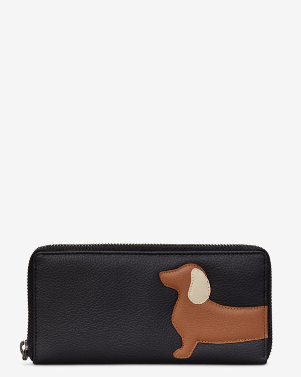 Digby the Dachshund Zip Round Leather Purse