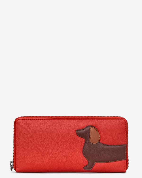 Dottie the Dachshund Zip Around Leather Purse