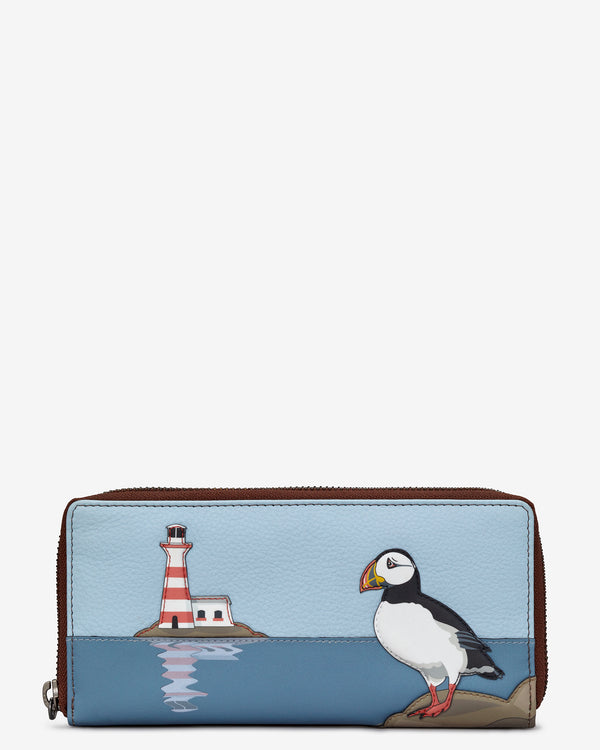 Puffin Island Zip Round Leather Purse