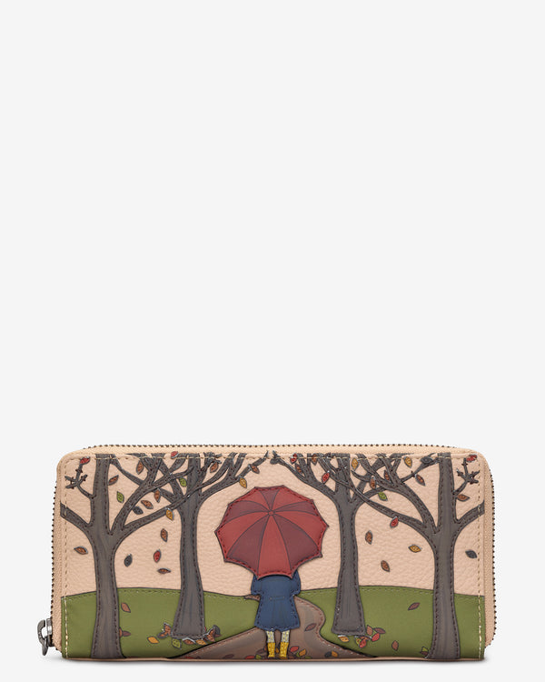Autumn Girl Zip Round Leather Purse