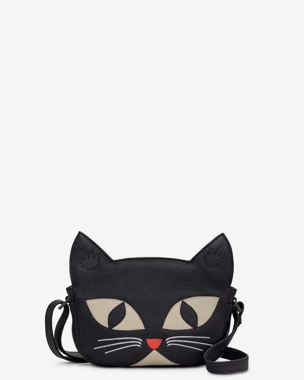 Bruce the Cat Black Leather Cross Body Bag