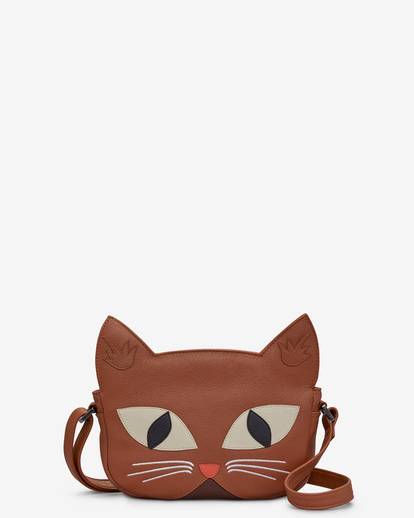 Marmalade the Cat Tan Leather Cross Body Bag