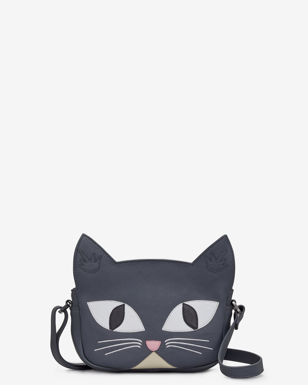 Misty the Cat Grey Leather Cross Body Bag