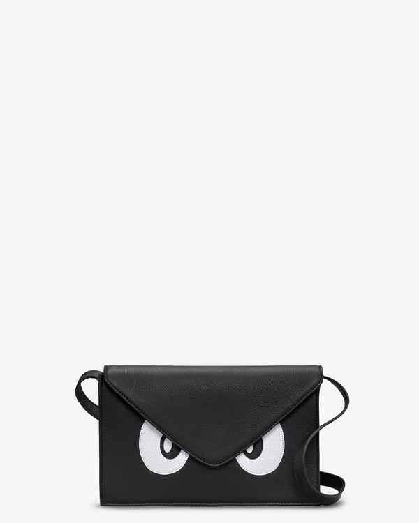 Surpr-Eyes Black Leather Shoulder Bag