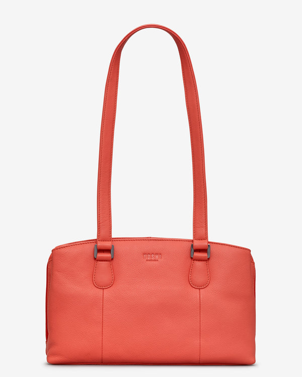 Ealing Coral Leather Shoulder Bag