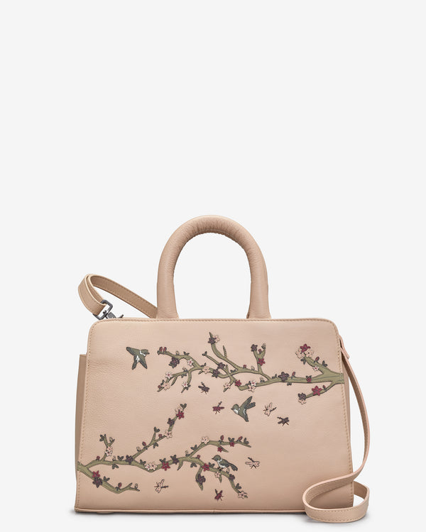 Sakura Cherry Blossom Leather Tote Bag