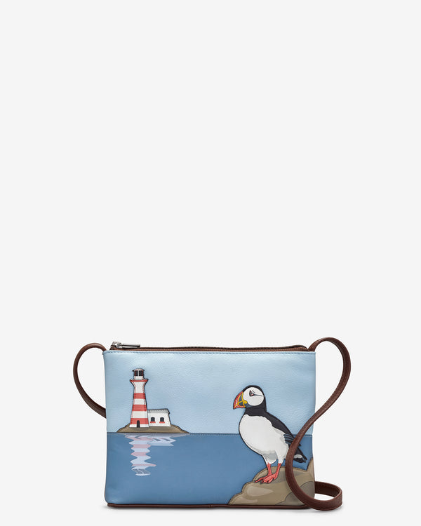 Puffin Island Leather Cross Body Bag