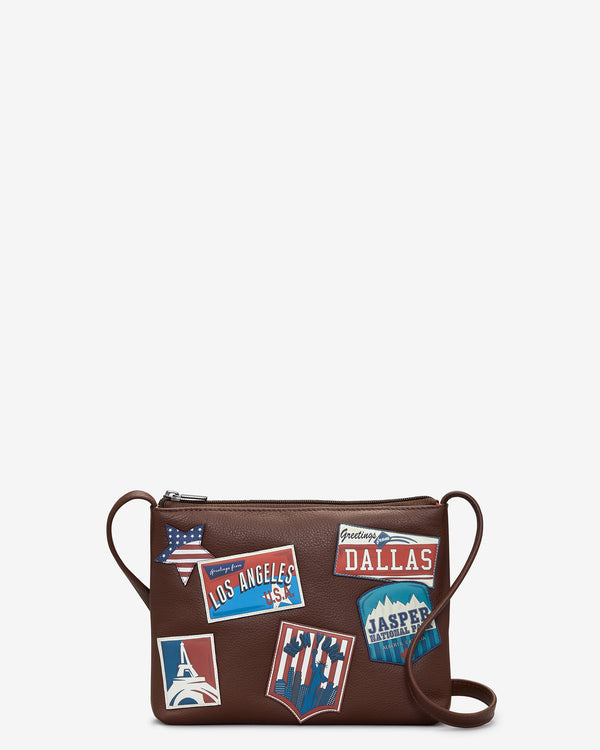 Happy Travels Leather Cross Body Bag