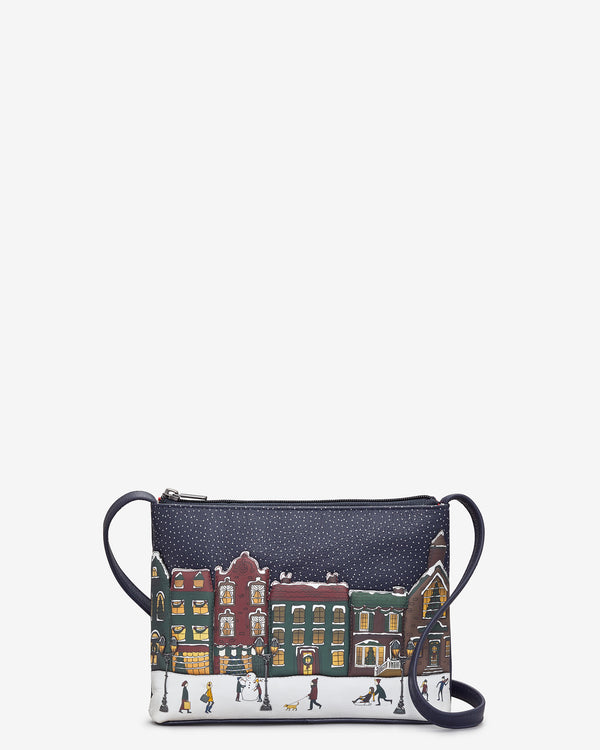 Magic of Winter Leather Cross Body Bag