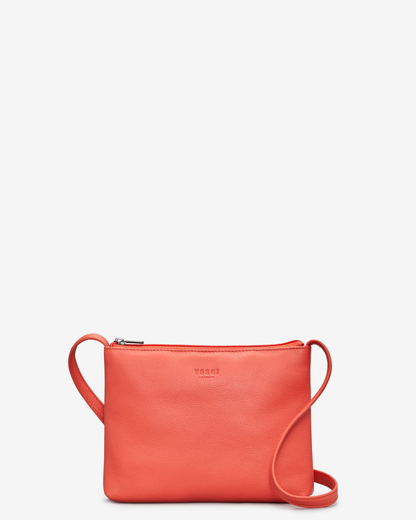 Parker Coral Leather Cross Body Bag