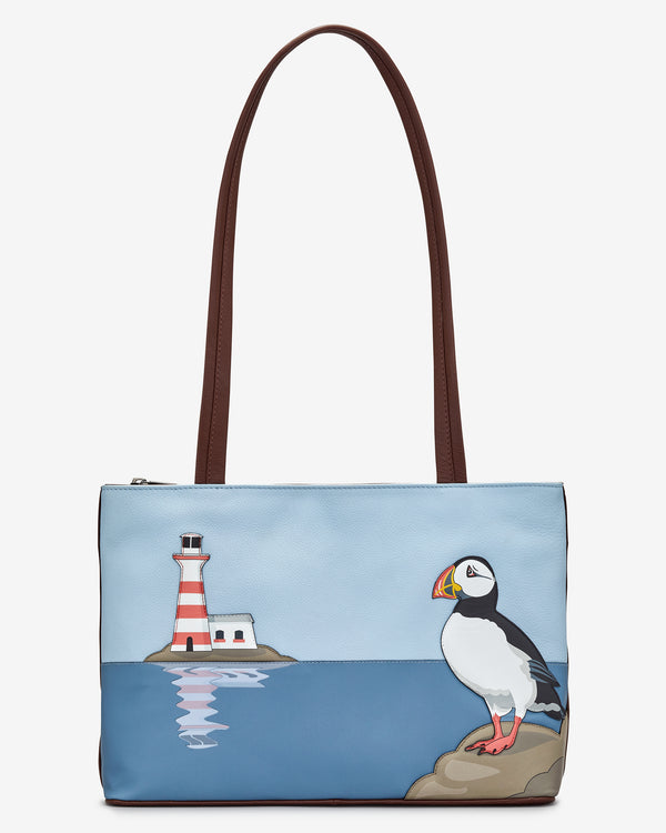 Puffin Island Leather Shoulder Bag