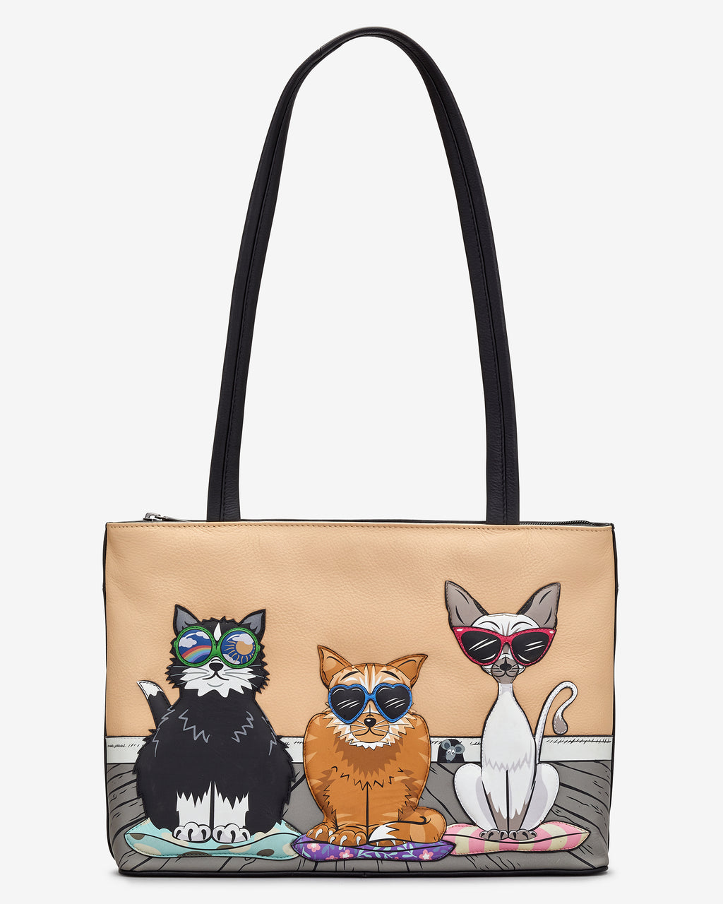 Cool For Cats Leather Shoulder Bag