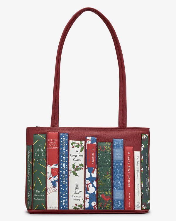 Christmas Bookworm Library Leather Shoulder Bag