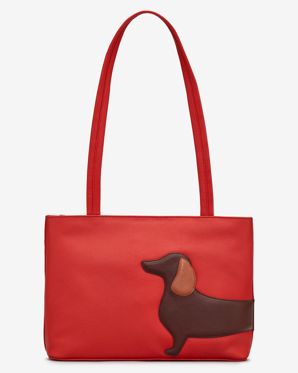Dottie the Dachshund Red Leather Shoulder Bag