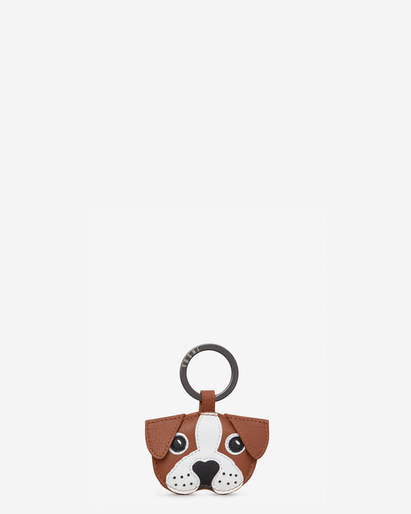 Buddy The Dog Tan Leather Keyring