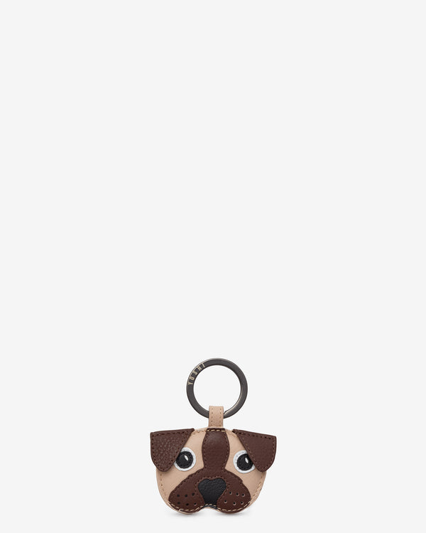 Percy the Pug Leather Keyring