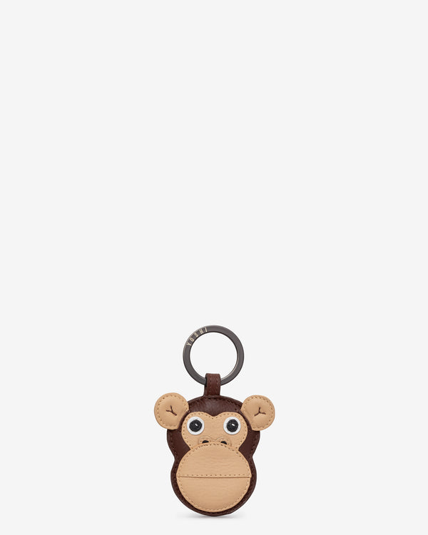 Marcel the Monkey Brown Leather Keyring