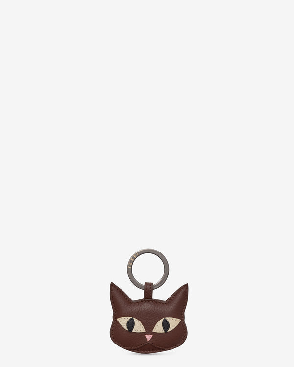 Augustus The Cat Brown Leather Keyring