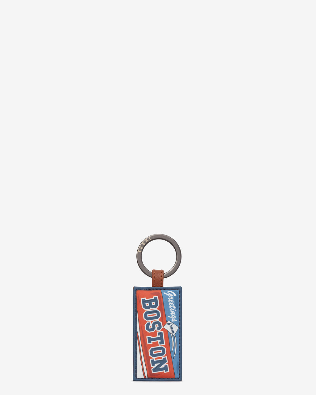 Happy Travels Boston Leather Keyring