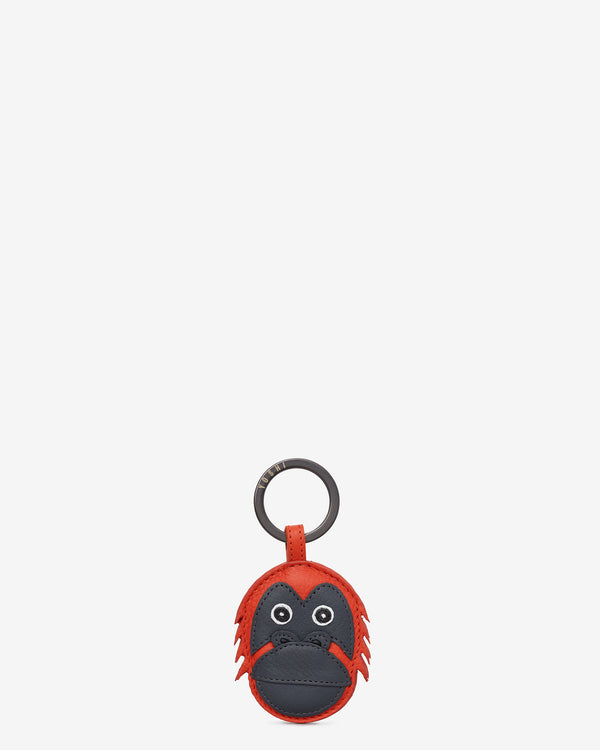 Maurice the Orangutan Orange Leather Keyring
