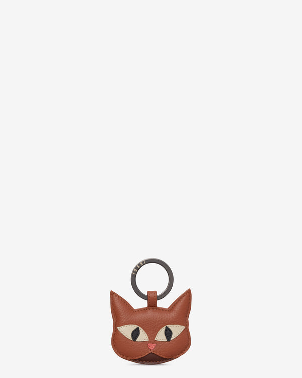 Marmalade The Cat Tan Leather Keyring