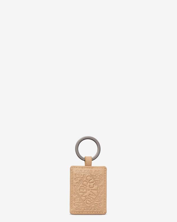 Custard Cream Biscuit Leather Keyring