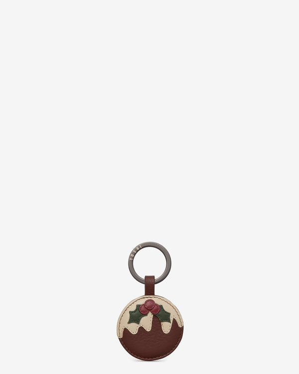 Christmas Pudding Leather Keyring