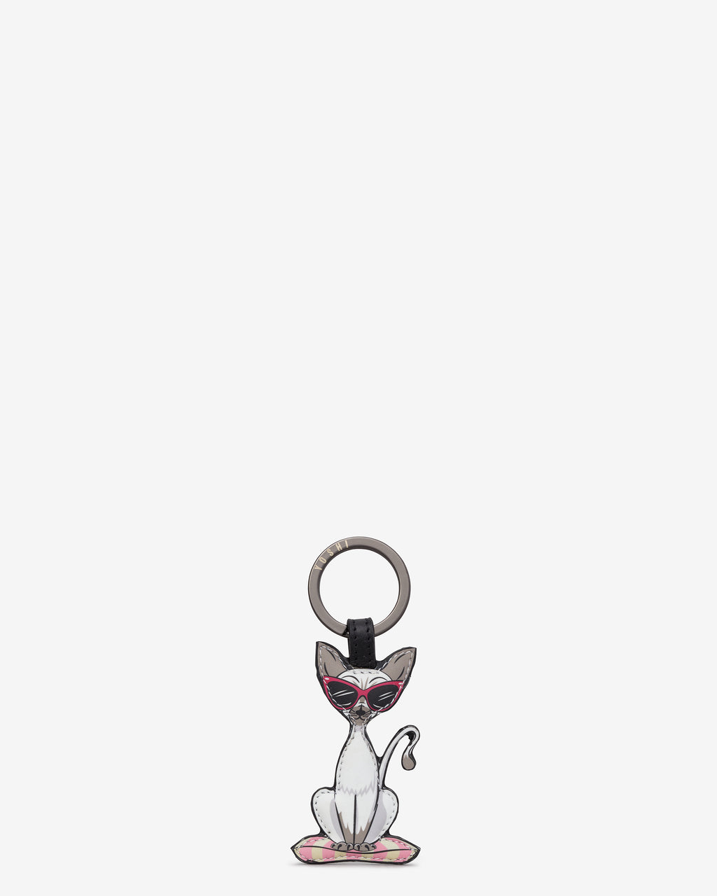 Cool For Cats Leather Keyring - Cat B
