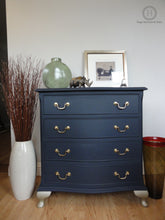 Load image into Gallery viewer, Serpentine Chest of Drawers Painted in a Classic Deep Navy Blue Complemented With Queen Anne Legs painted in Vintage Gold SOLD-Storage-Hugo Interiors & Paint-Hugo Interiors & Paint