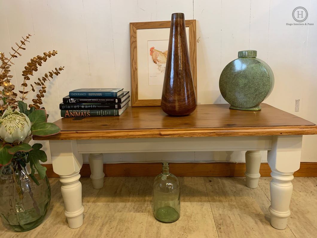 Large Farmhouse Style Coffee Table with Cream Base & Sanded & Stained Top-furniture-Hugo Interiors & Paint-Hugo Interiors & Paint