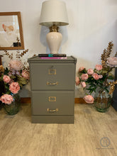 Load image into Gallery viewer, A very attractive wooden 2 drawer filing cabinet painted with Dixie Belle Hampton Olive in a silk finish. - SOLD-Storage-Hugo Interiors & Paint-Hugo Interiors & Paint