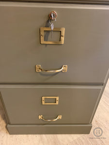 A very attractive wooden 2 drawer filing cabinet painted with Dixie Belle Hampton Olive in a silk finish. - SOLD-Storage-Hugo Interiors & Paint-Hugo Interiors & Paint