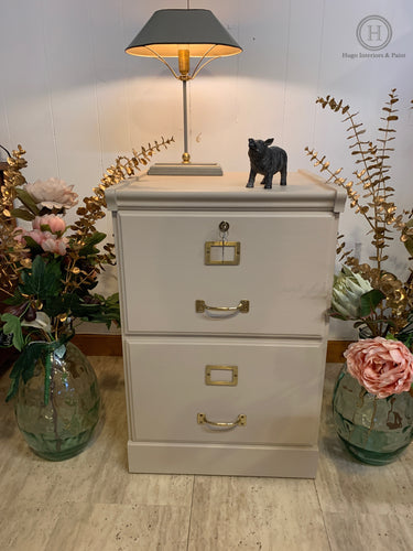 A very attractive wooden 2 drawer filing cabinet painted in Fusion Mineral Paint Cathedral Taupe SOLD-Storage-Hugo Interiors & Paint-Hugo Interiors & Paint