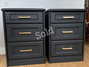 A Pair of Sturdy Bedside Tables Painted in Classical Black with Brass Gold Brushed Handles - SOLD-Storage-Hugo Interiors & Paint-Hugo Interiors & Paint