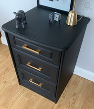 Load image into Gallery viewer, A Pair of Sturdy Bedside Tables Painted in Classical Black with Brass Gold Brushed Handles - SOLD-Storage-Hugo Interiors & Paint-Hugo Interiors & Paint