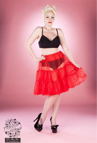 Hearts & Roses Single Layer Petticoat - Red