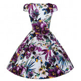 Hearts & Roses Purple Floral Cut Out Rockabilly Dress Back View