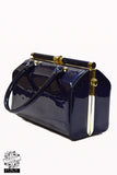 Hearts & Roses London Patent Navy Handbag